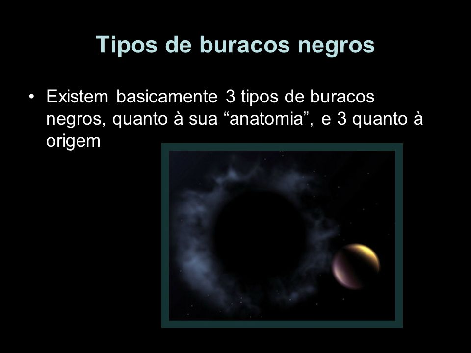 Tipos de buracos negros Existem basicamente 3 tipos de buracos negros, quanto à sua anatomia, e 3 quanto à origem