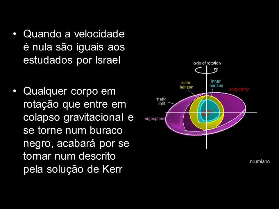Quando a velocidade é nula são iguais aos estudados por Israel Qualquer corpo em rotação que entre em colapso gravitacional e se torne num buraco negr