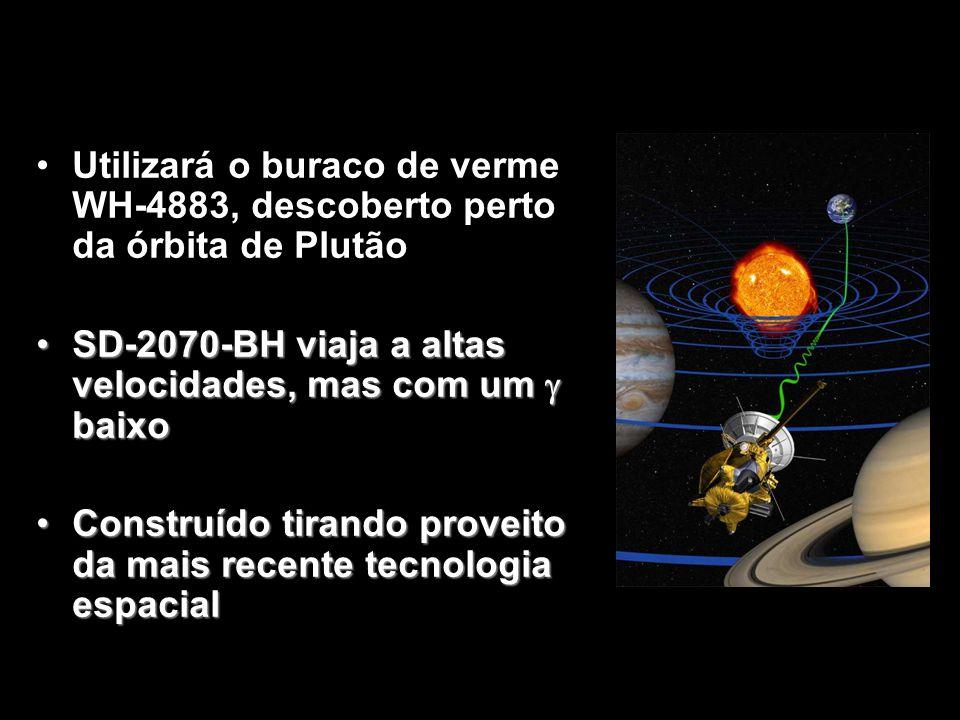 Utilizará o buraco de verme WH-4883, descoberto perto da órbita de Plutão SD-2070-BH viaja a altas velocidades, mas com um baixoSD-2070-BH viaja a alt