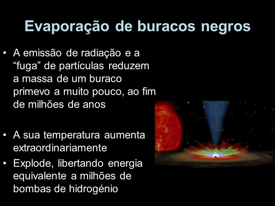 Evaporação de buracos negros A emissão de radiação e a fuga de partículas reduzem a massa de um buraco primevo a muito pouco, ao fim de milhões de ano