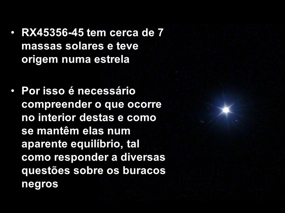 RX45356-45 tem cerca de 7 massas solares e teve origem numa estrela Por isso é necessário compreender o que ocorre no interior destas e como se mantêm