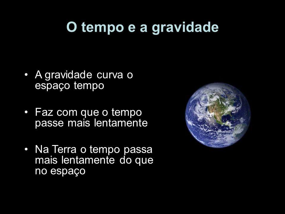 O tempo e a gravidade A gravidade curva o espaço tempo Faz com que o tempo passe mais lentamente Na Terra o tempo passa mais lentamente do que no espa