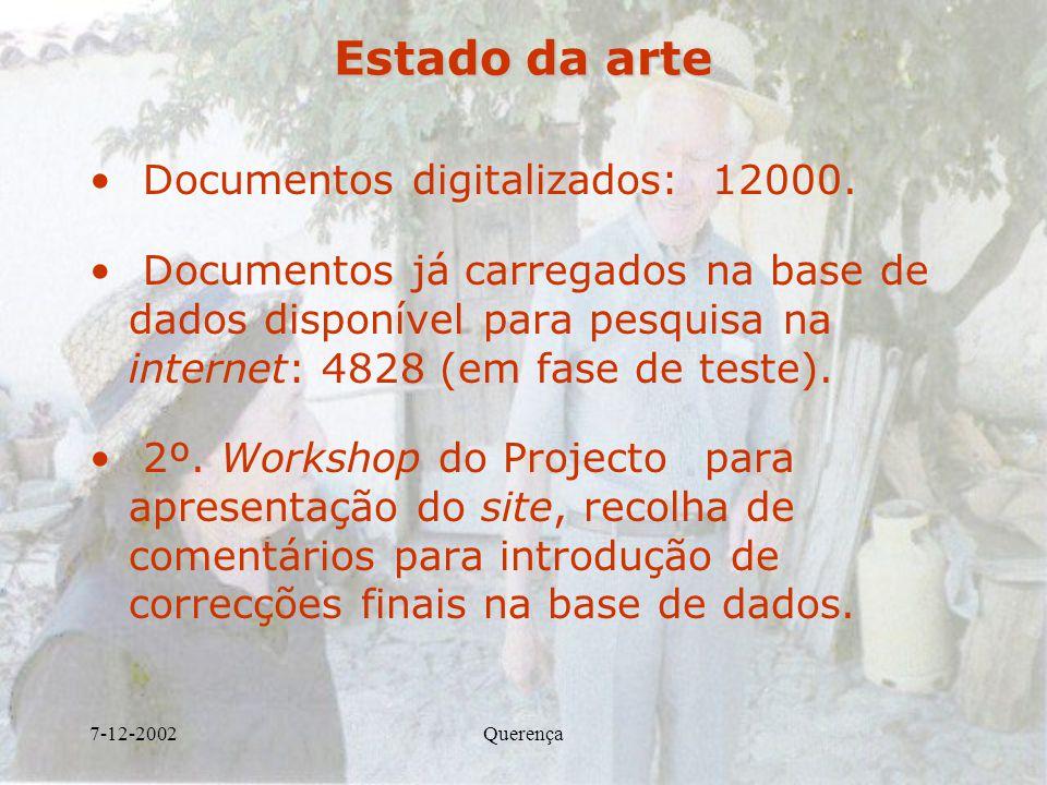 7-12-2002Querença Estado da arte Documentos digitalizados: 12000. Documentos já carregados na base de dados disponível para pesquisa na internet: 4828