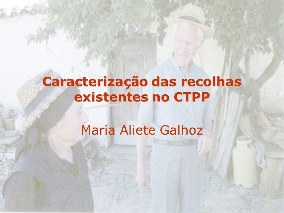 Caracterização das recolhas existentes no CTPP Maria Aliete Galhoz