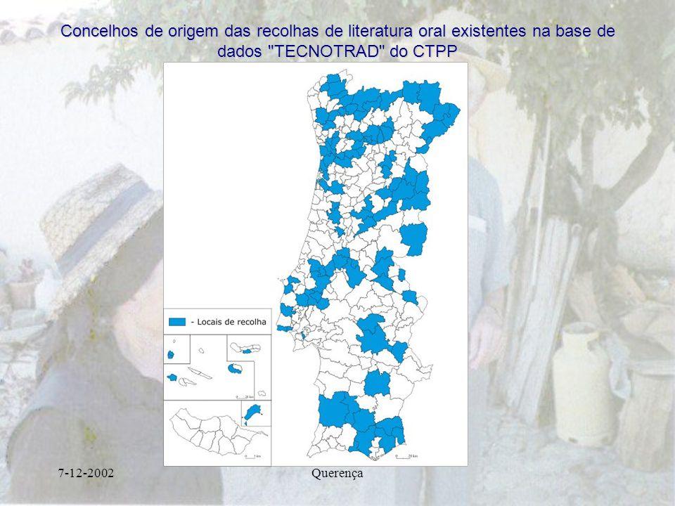 7-12-2002Querença Concelhos de origem das recolhas de literatura oral existentes na base de dados