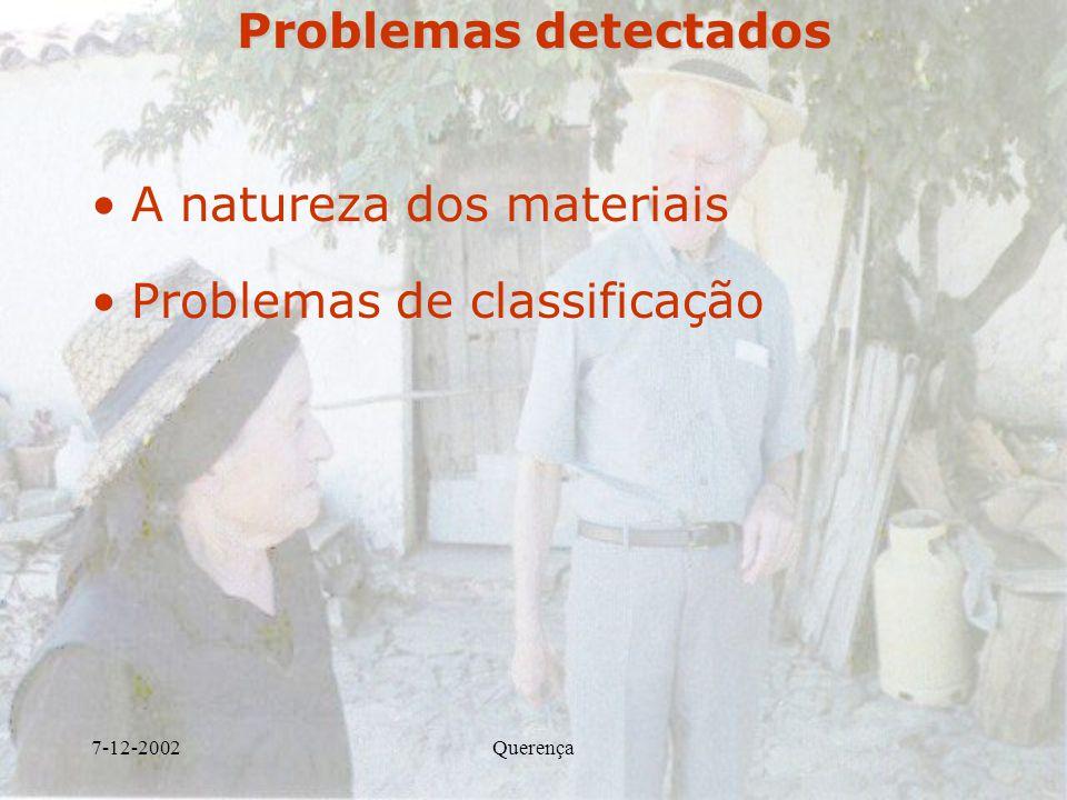 7-12-2002Querença Problemas detectados A natureza dos materiais Problemas de classificação