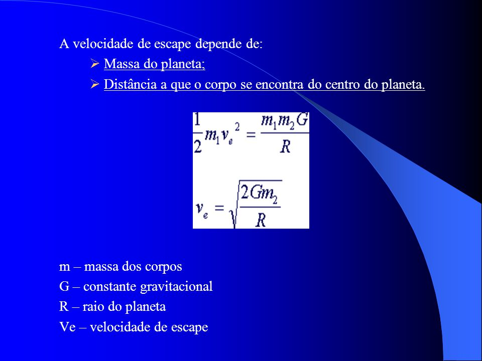Velocidade de Escape Gráf.1 e 2 - Representação da trajectória de uma bola lançada da superfície de um planeta. Velocidade de Escape Gráf.1 e 2 - Repr