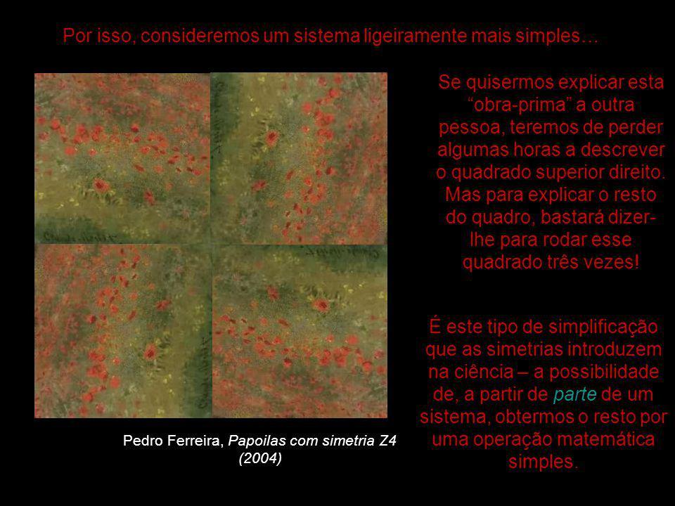Pedro Ferreira, Papoilas com simetria Z4 (2004) Por isso, consideremos um sistema ligeiramente mais simples… Se quisermos explicar esta obra-prima a outra pessoa, teremos de perder algumas horas a descrever o quadrado superior direito.