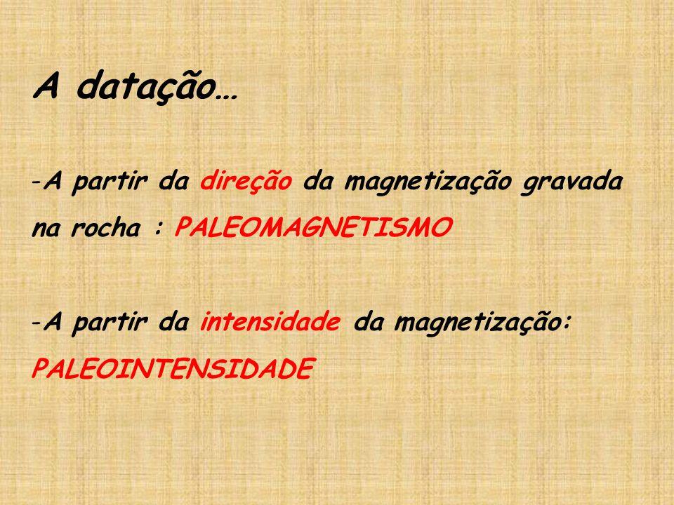 A datação… -A partir da direção da magnetização gravada na rocha : PALEOMAGNETISMO -A partir da intensidade da magnetização: PALEOINTENSIDADE