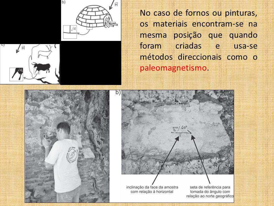No caso de fornos ou pinturas, os materiais encontram-se na mesma posição que quando foram criadas e usa-se métodos direccionais como o paleomagnetism