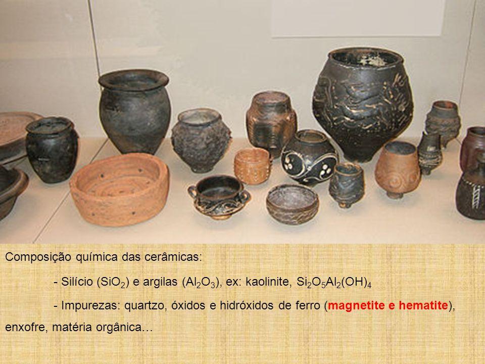 Composição química das cerâmicas: - Silício (SiO 2 ) e argilas (Al 2 O 3 ), ex: kaolinite, Si 2 O 5 Al 2 (OH) 4 - Impurezas: quartzo, óxidos e hidróxi
