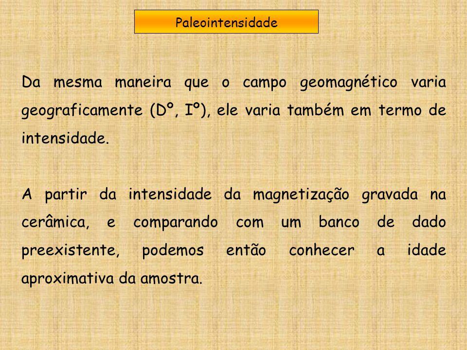 Paleointensidade Da mesma maneira que o campo geomagnético varia geograficamente (Dº, Iº), ele varia também em termo de intensidade. A partir da inten