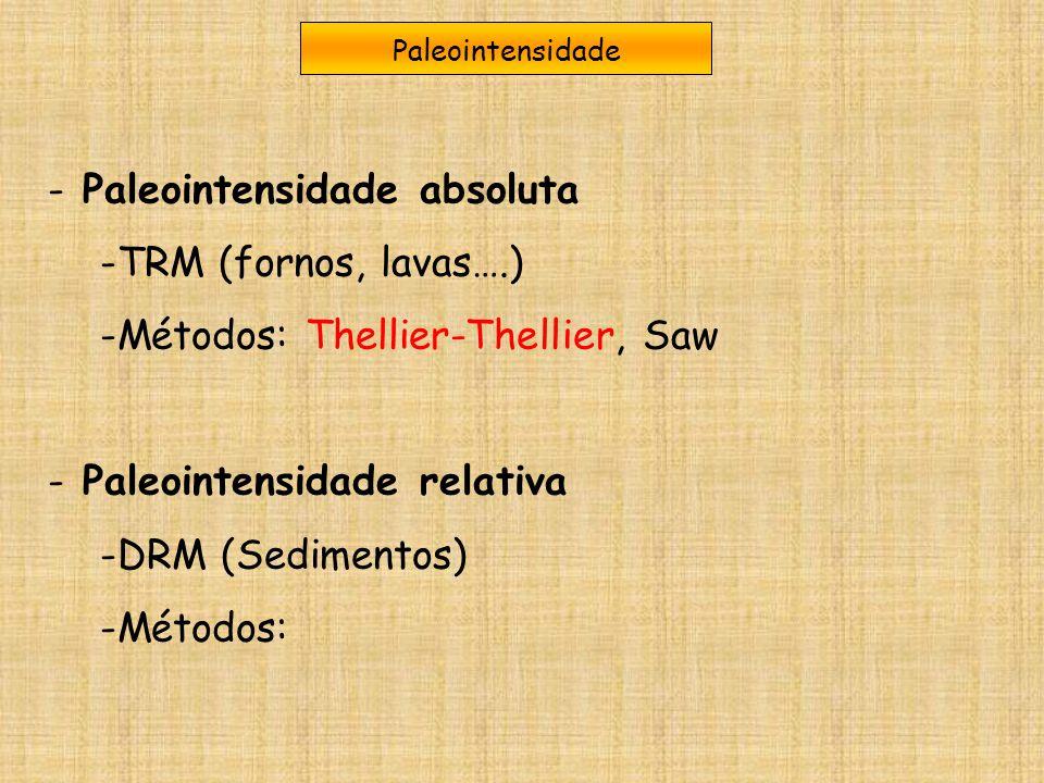 Paleointensidade - Paleointensidade absoluta -TRM (fornos, lavas….) -Métodos: Thellier-Thellier, Saw - Paleointensidade relativa -DRM (Sedimentos) -Mé