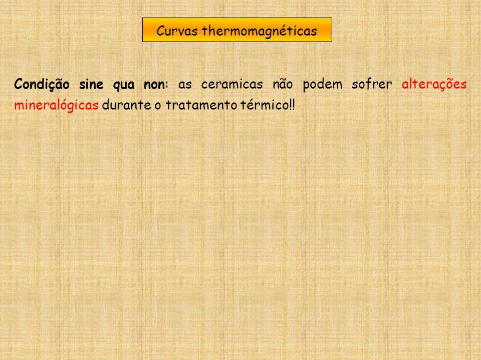 Curvas thermomagnéticas Condição sine qua non: as ceramicas não podem sofrer alterações mineralógicas durante o tratamento térmico!!