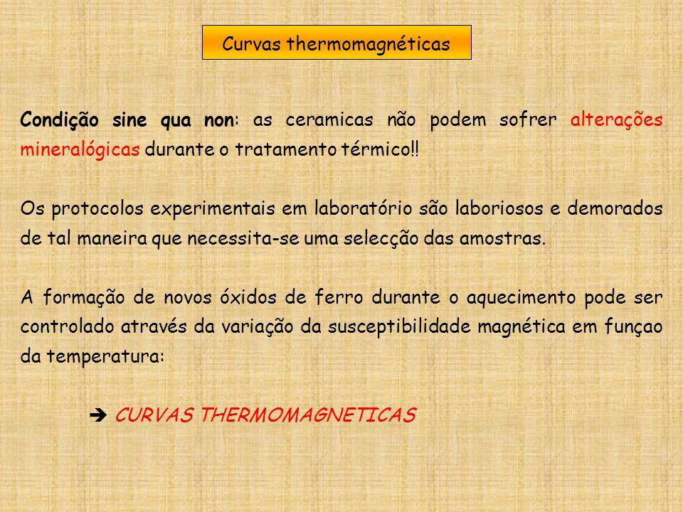 Curvas thermomagnéticas Condição sine qua non: as ceramicas não podem sofrer alterações mineralógicas durante o tratamento térmico!! Os protocolos exp