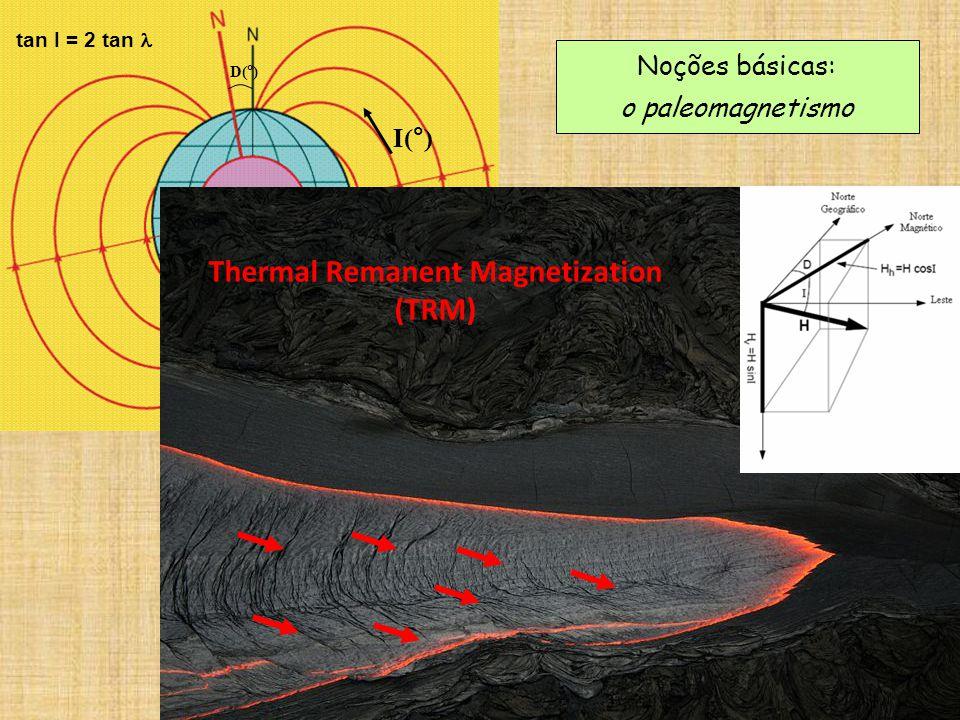 Noções básicas: o paleomagnetismo D(°) I(°) tan I = 2 tan Thermal Remanent Magnetization (TRM)
