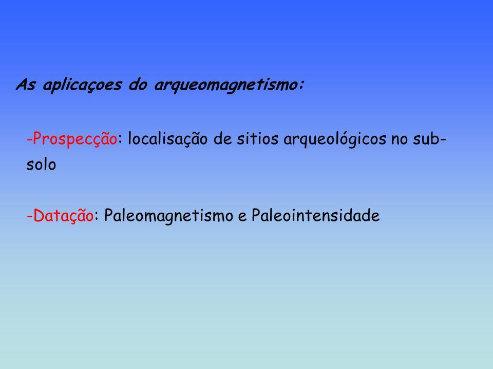 As aplicaçoes do arqueomagnetismo: -Prospecção: localisação de sitios arqueológicos no sub- solo -Datação: Paleomagnetismo e Paleointensidade