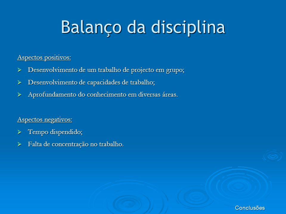 Balanço da disciplina Aspectos positivos: Desenvolvimento de um trabalho de projecto em grupo; Desenvolvimento de um trabalho de projecto em grupo; Desenvolvimento de capacidades de trabalho; Desenvolvimento de capacidades de trabalho; Aprofundamento do conhecimento em diversas áreas.
