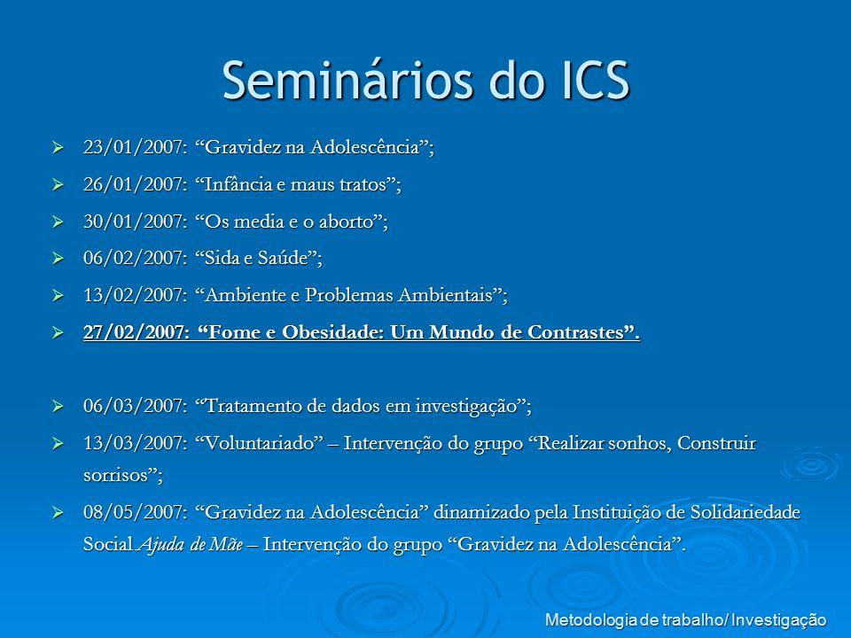 Seminários do ICS 23/01/2007: Gravidez na Adolescência; 23/01/2007: Gravidez na Adolescência; 26/01/2007: Infância e maus tratos; 26/01/2007: Infância