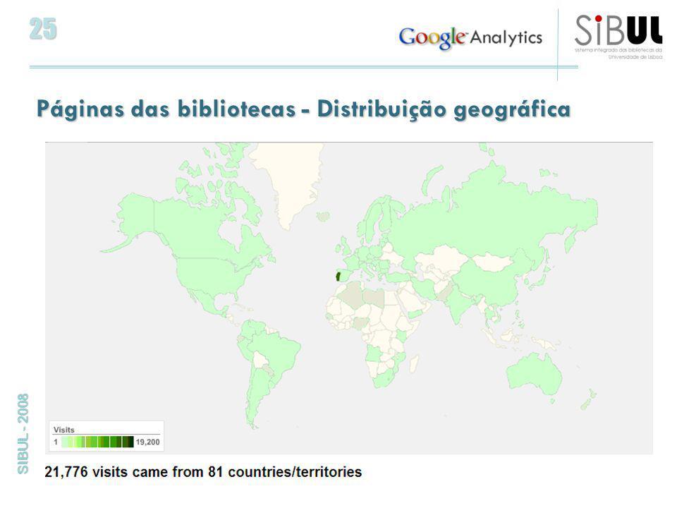 25 SIBUL - 2008 Páginas das bibliotecas - Distribuição geográfica