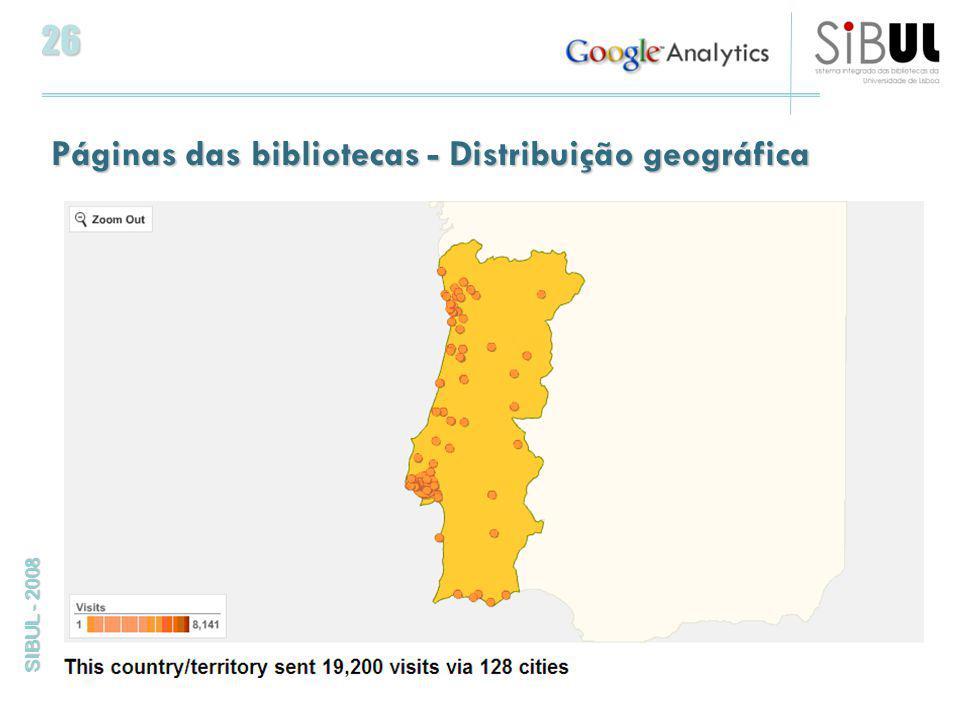26 SIBUL - 2008 Páginas das bibliotecas - Distribuição geográfica