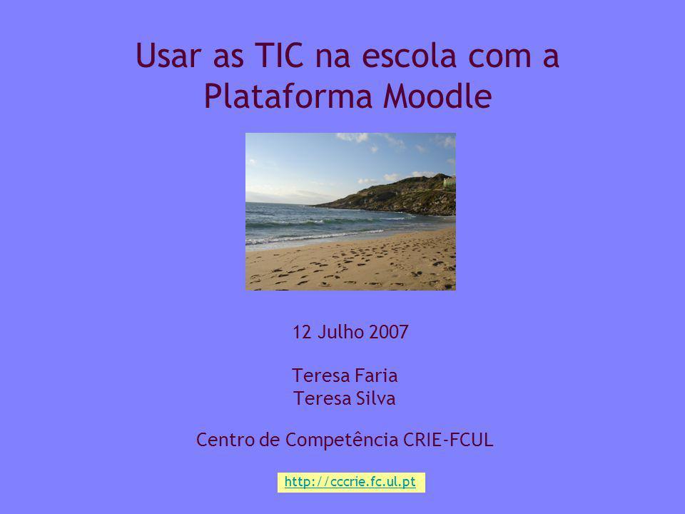 Centro Competência CRIE FCUL Julho 20072 Plano da sessão Quem somos Site - http://cccrie.fc.ul.pthttp://cccrie.fc.ul.pt Moodle - http://noniob.fc.ul.pt/plataformahttp://noniob.fc.ul.pt/plataforma Com as TIC Modalidades de trabalho Tipos de actividades Dar atenção a… Trabalhar na plataforma Moodle