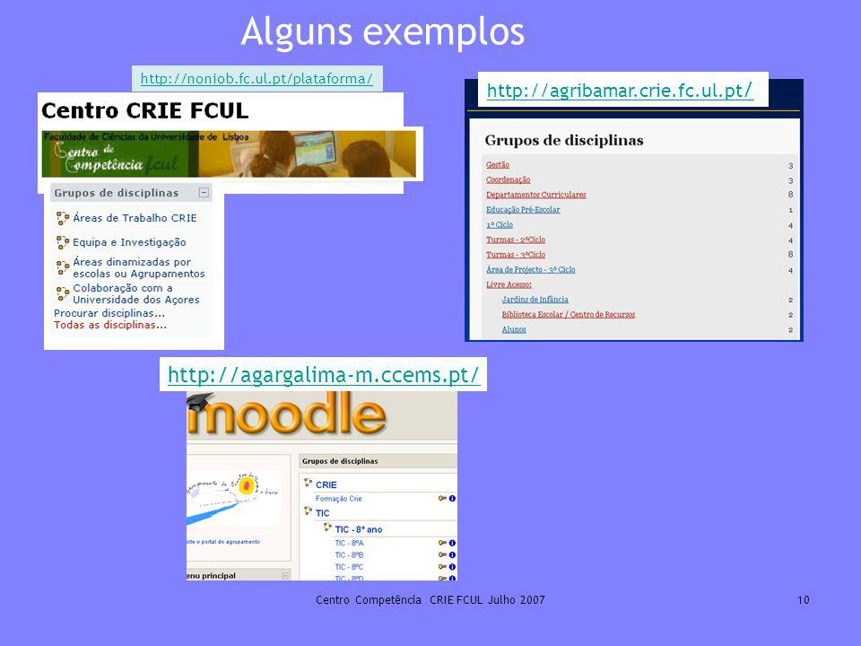 Centro Competência CRIE FCUL Julho 200710 Alguns exemplos http://noniob.fc.ul.pt/plataforma/ http://agribamar.crie.fc.ul.pt / http://agargalima-m.ccem