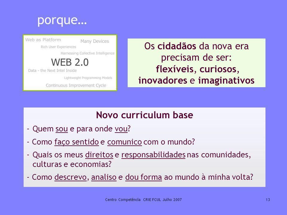 Centro Competência CRIE FCUL Julho 200713 porque… Os cidadãos da nova era precisam de ser: flexíveis, curiosos, inovadores e imaginativos Novo curricu