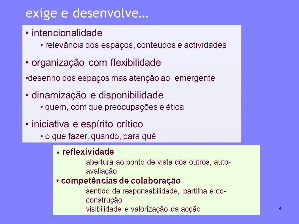 Centro Competência CRIE FCUL Julho 200714 intencionalidade relevância dos espaços, conteúdos e actividades organização com flexibilidade desenho dos e