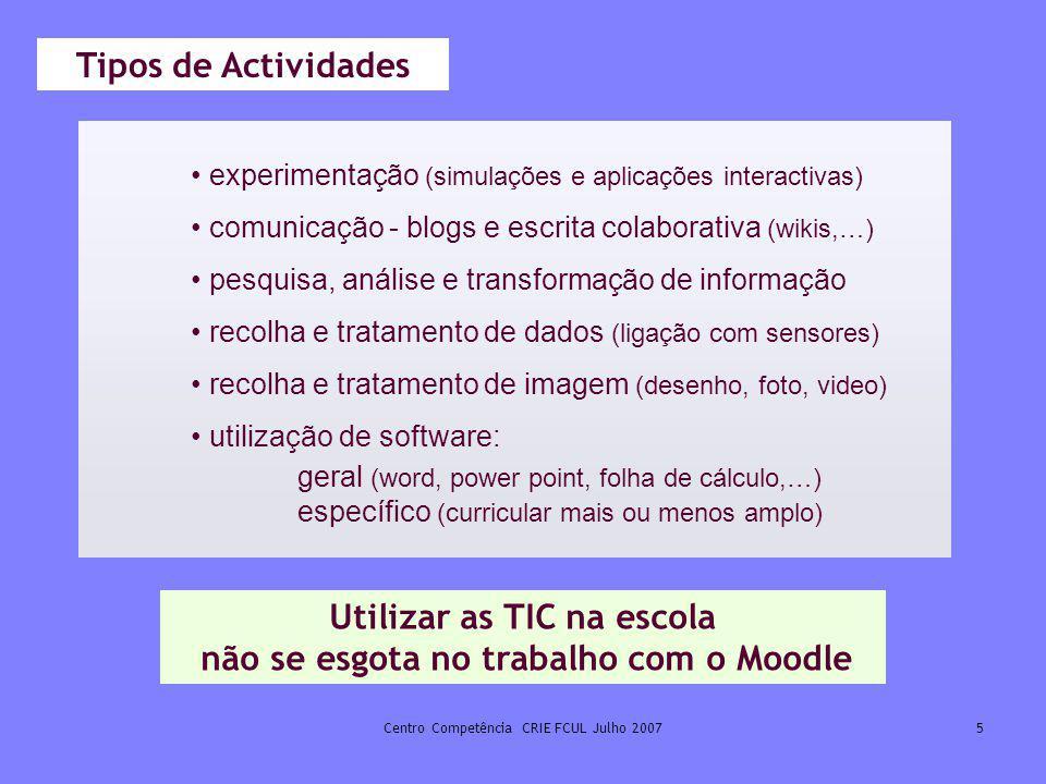 Centro Competência CRIE FCUL Julho 20075 Utilizar as TIC na escola não se esgota no trabalho com o Moodle experimentação (simulações e aplicações inte