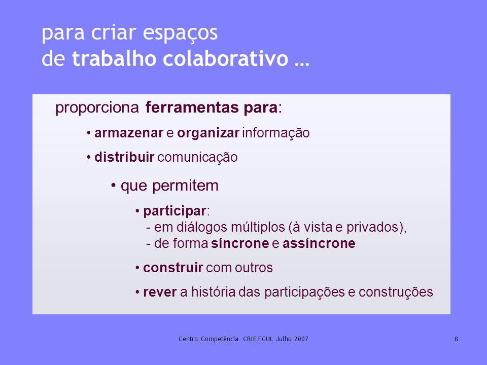 Centro Competência CRIE FCUL Julho 20078 para criar espaços de trabalho colaborativo … proporciona ferramentas para: armazenar e organizar informação