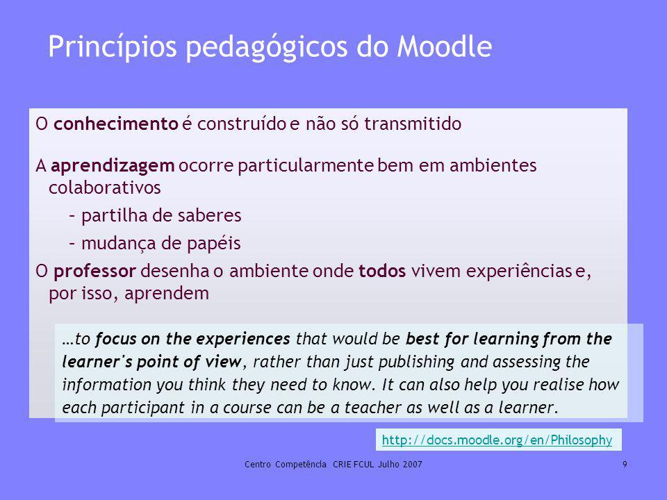 Centro Competência CRIE FCUL Julho 20079 Princípios pedagógicos do Moodle O conhecimento é construído e não só transmitido A aprendizagem ocorre parti