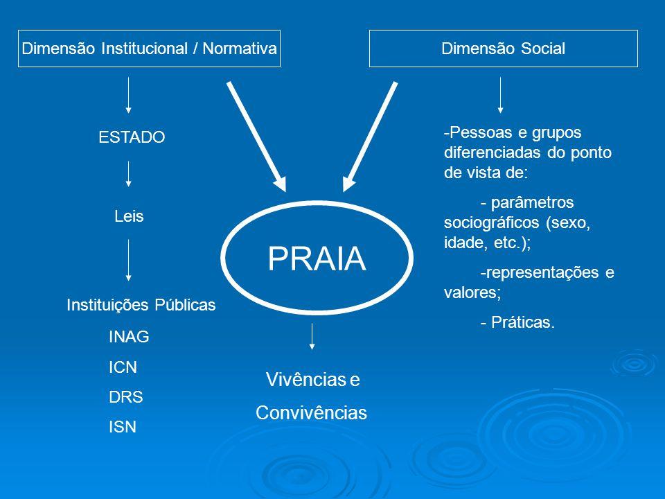 Dimensão Institucional / NormativaDimensão Social ESTADO Leis Instituições Públicas INAG ICN DRS ISN PRAIA -Pessoas e grupos diferenciadas do ponto de vista de: - parâmetros sociográficos (sexo, idade, etc.); -representações e valores; - Práticas.