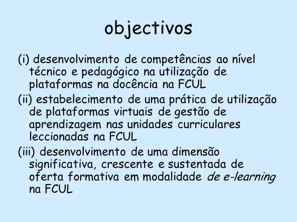 objectivos (i) desenvolvimento de competências ao nível técnico e pedagógico na utilização de plataformas na docência na FCUL (ii) estabelecimento de uma prática de utilização de plataformas virtuais de gestão de aprendizagem nas unidades curriculares leccionadas na FCUL (iii) desenvolvimento de uma dimensão significativa, crescente e sustentada de oferta formativa em modalidade de e-learning na FCUL