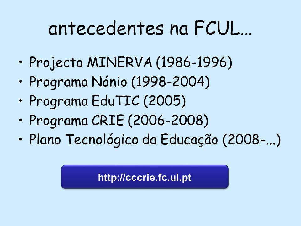 antecedentes na FCUL… Projecto MINERVA (1986-1996) Programa Nónio (1998-2004) Programa EduTIC (2005) Programa CRIE (2006-2008) Plano Tecnológico da Educação (2008-...) http://cccrie.fc.ul.pt