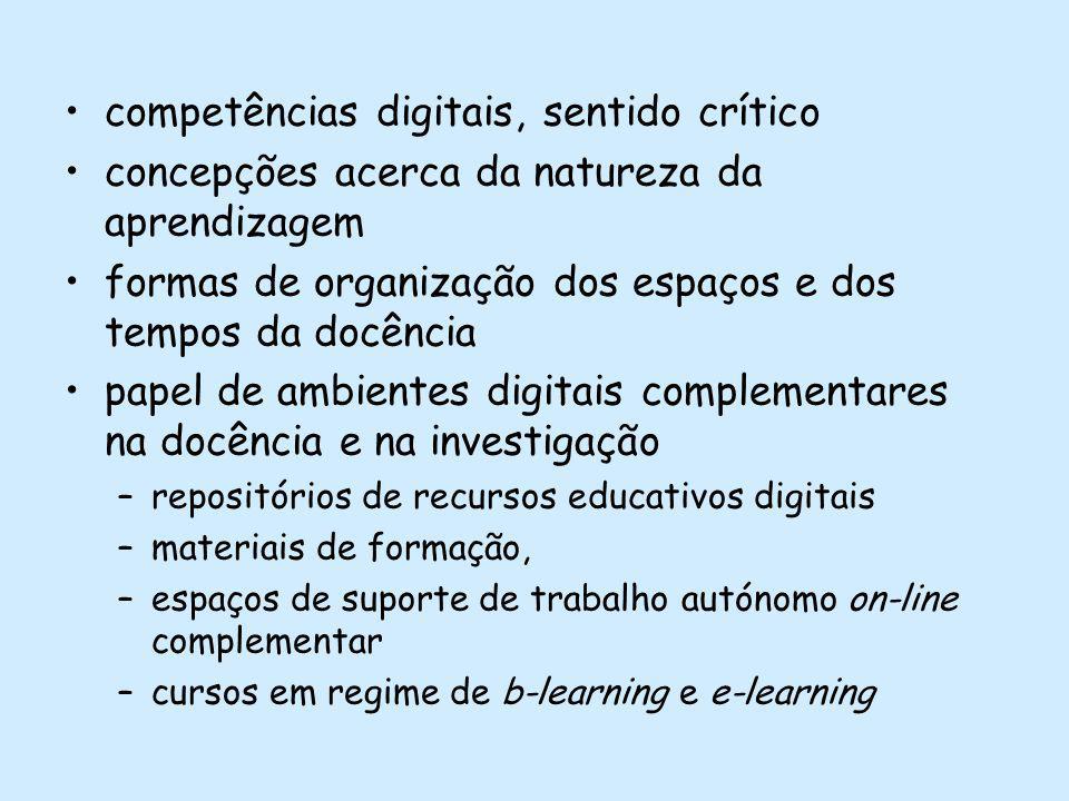 competências digitais, sentido crítico concepções acerca da natureza da aprendizagem formas de organização dos espaços e dos tempos da docência papel de ambientes digitais complementares na docência e na investigação –repositórios de recursos educativos digitais –materiais de formação, –espaços de suporte de trabalho autónomo on-line complementar –cursos em regime de b-learning e e-learning