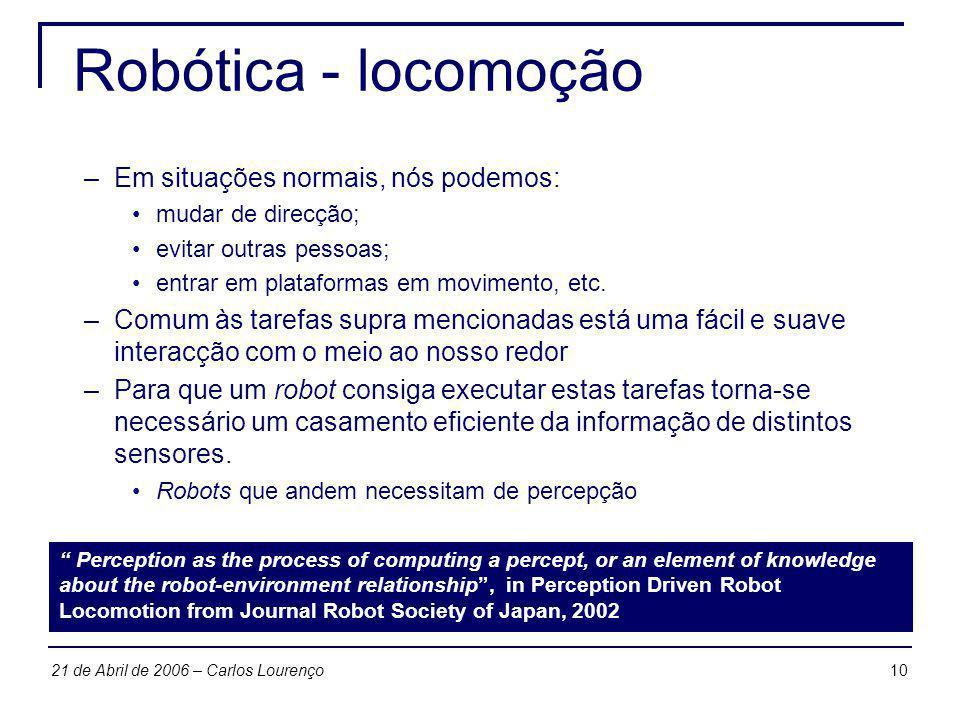 1021 de Abril de 2006 – Carlos Lourenço Robótica - locomoção –Em situações normais, nós podemos: mudar de direcção; evitar outras pessoas; entrar em p