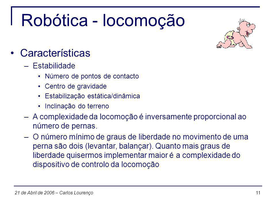 1121 de Abril de 2006 – Carlos Lourenço Robótica - locomoção Características –Estabilidade Número de pontos de contacto Centro de gravidade Estabiliza