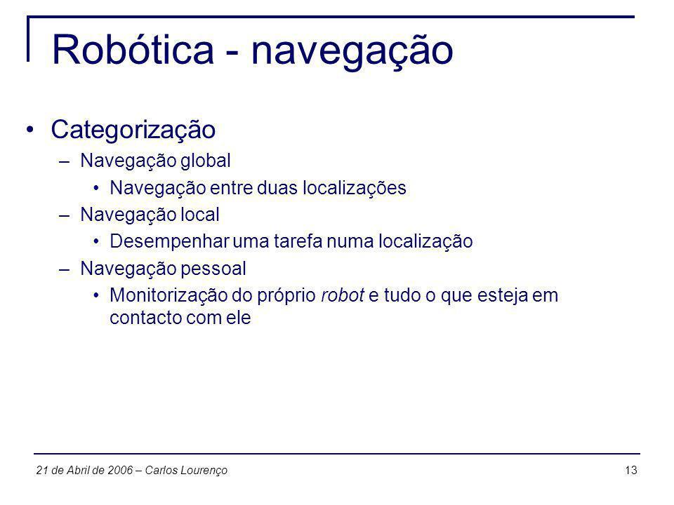 1321 de Abril de 2006 – Carlos Lourenço Robótica - navegação Categorização –Navegação global Navegação entre duas localizações –Navegação local Desemp