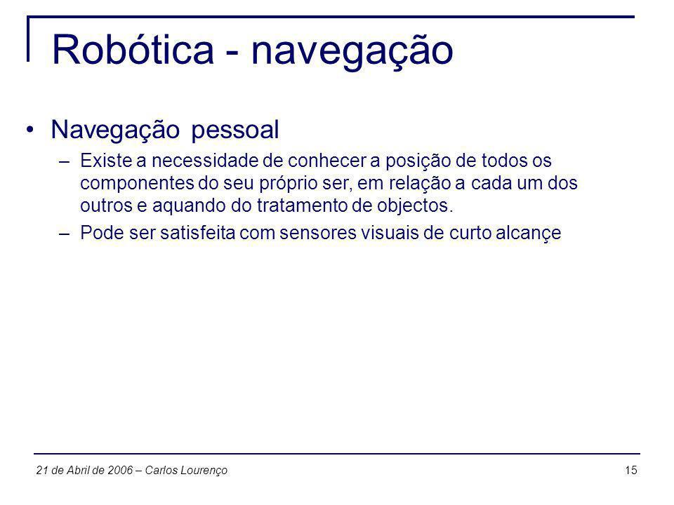 1521 de Abril de 2006 – Carlos Lourenço Robótica - navegação Navegação pessoal –Existe a necessidade de conhecer a posição de todos os componentes do