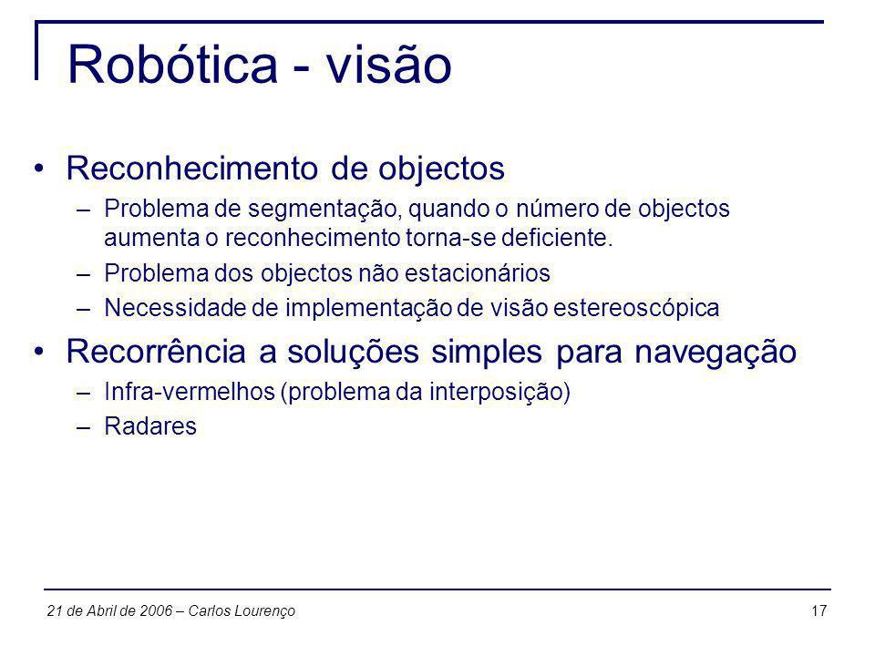 1721 de Abril de 2006 – Carlos Lourenço Robótica - visão Reconhecimento de objectos –Problema de segmentação, quando o número de objectos aumenta o re