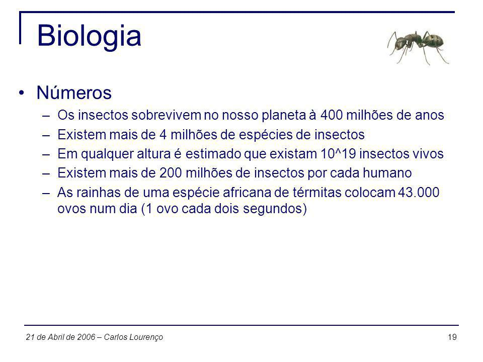 1921 de Abril de 2006 – Carlos Lourenço Biologia Números –Os insectos sobrevivem no nosso planeta à 400 milhões de anos –Existem mais de 4 milhões de
