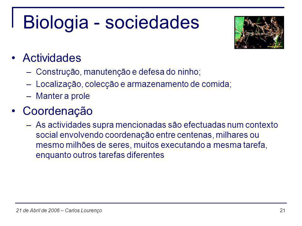 2121 de Abril de 2006 – Carlos Lourenço Biologia - sociedades Actividades –Construção, manutenção e defesa do ninho; –Localização, colecção e armazena