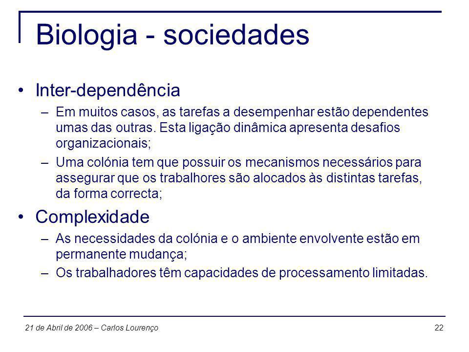 2221 de Abril de 2006 – Carlos Lourenço Biologia - sociedades Inter-dependência –Em muitos casos, as tarefas a desempenhar estão dependentes umas das
