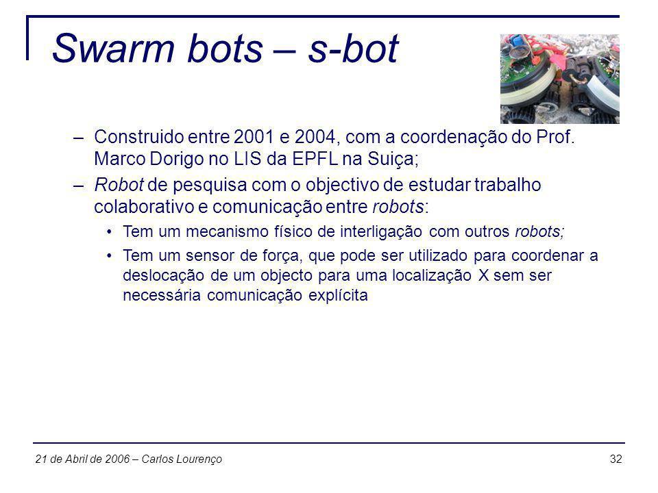 3221 de Abril de 2006 – Carlos Lourenço Swarm bots – s-bot –Construido entre 2001 e 2004, com a coordenação do Prof. Marco Dorigo no LIS da EPFL na Su