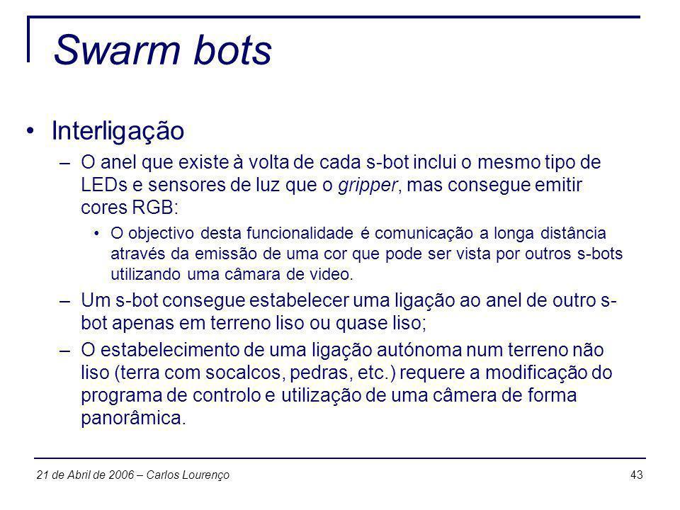 4321 de Abril de 2006 – Carlos Lourenço Swarm bots Interligação –O anel que existe à volta de cada s-bot inclui o mesmo tipo de LEDs e sensores de luz