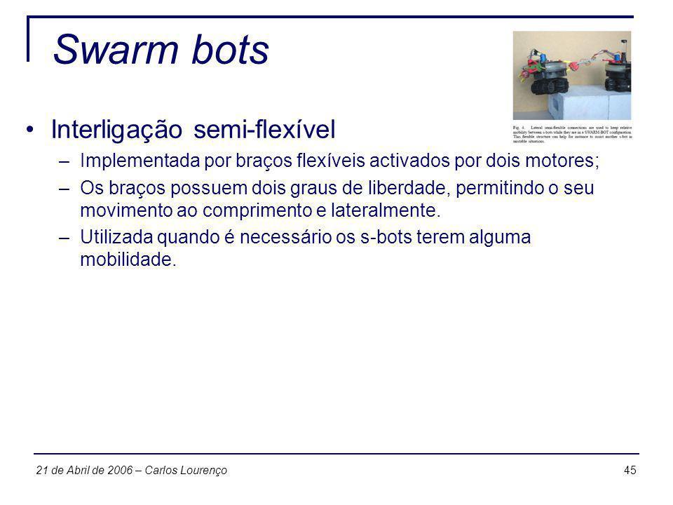 4521 de Abril de 2006 – Carlos Lourenço Swarm bots Interligação semi-flexível –Implementada por braços flexíveis activados por dois motores; –Os braço