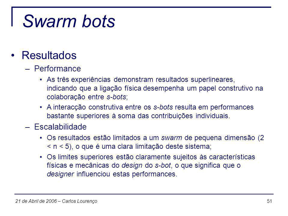 5121 de Abril de 2006 – Carlos Lourenço Swarm bots Resultados –Performance As três experiências demonstram resultados superlineares, indicando que a l