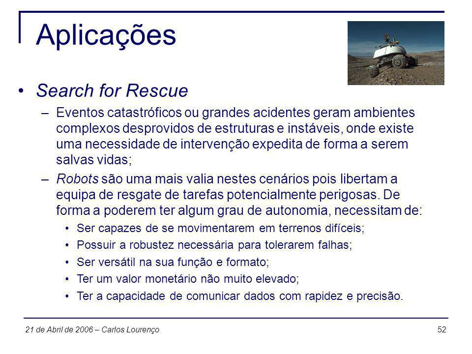 5221 de Abril de 2006 – Carlos Lourenço Aplicações Search for Rescue –Eventos catastróficos ou grandes acidentes geram ambientes complexos desprovidos