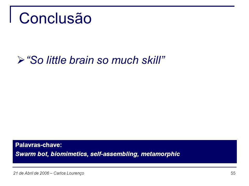 5521 de Abril de 2006 – Carlos Lourenço Conclusão So little brain so much skill Palavras-chave: Swarm bot, biomimetics, self-assembling, metamorphic